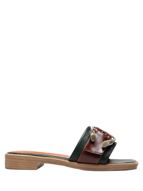 fashion Faux Leather Color Block Buckle Strap Slippers - BLACKISH GREEN 38 Mobile