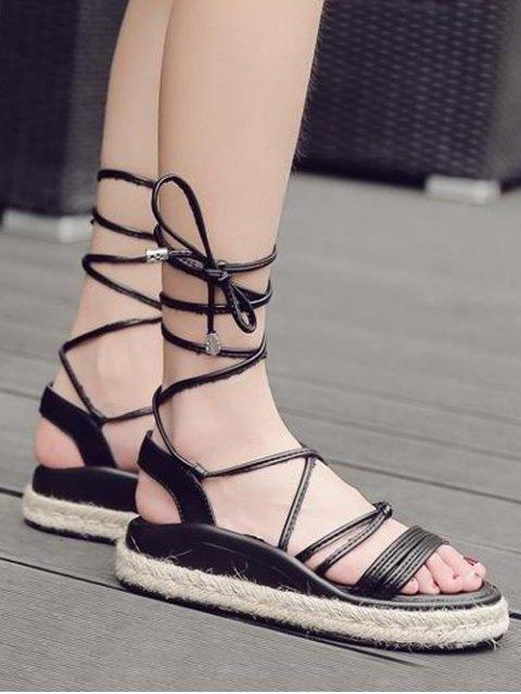 buy Tie Up Espadrilles Faux Leather Sandals - BLACK 38 Mobile