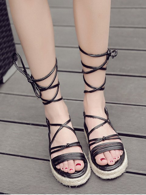 womens Tie Up Espadrilles Faux Leather Sandals - BLACK 39 Mobile