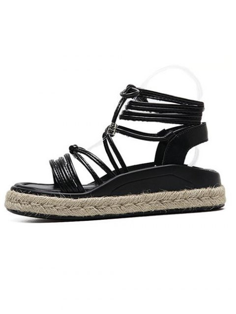 women Tie Up Espadrilles Faux Leather Sandals - BLACK 40 Mobile