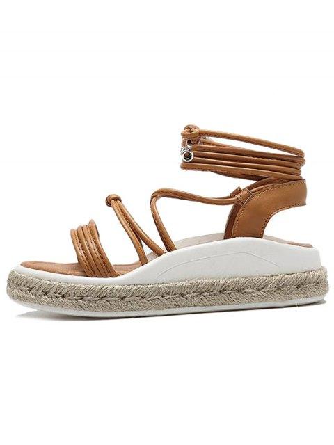 best Tie Up Espadrilles Faux Leather Sandals - LIGHT BROWN 38 Mobile
