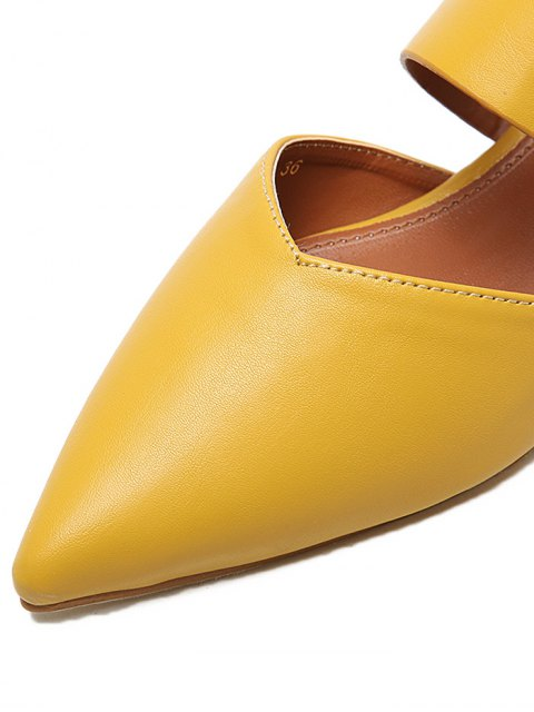 fashion Pointed Toe Metal Rings Faux Leather Slippers - YELLOW 38 Mobile