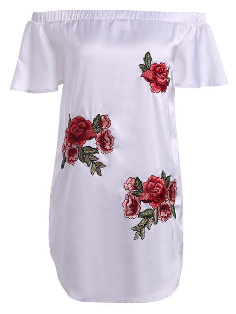 fancy Off The Shoulder Floral Mini Dress - WHITE L Mobile