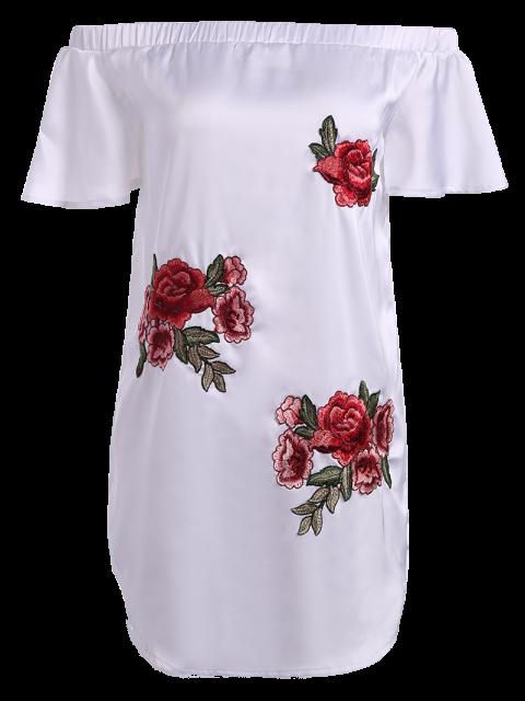 unique Off The Shoulder Floral Mini Dress - WHITE M Mobile