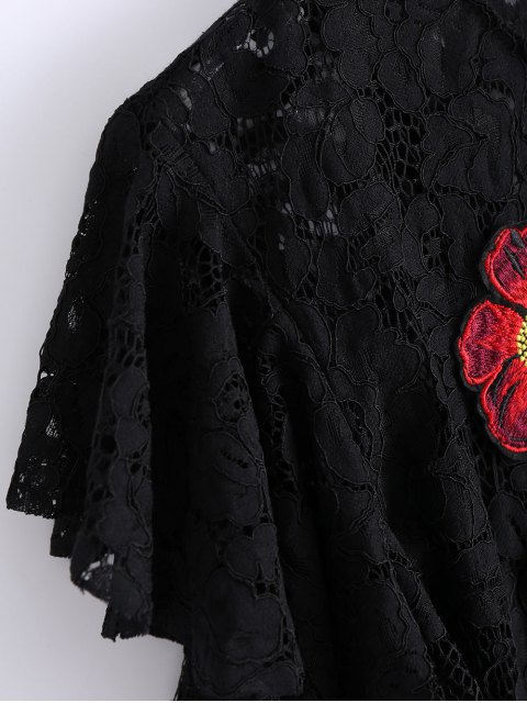 outfits Ruffles Embroidered Lace Dress - BLACK L Mobile