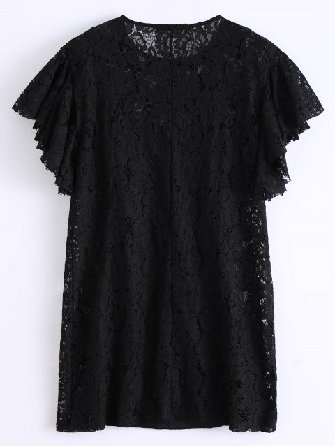 shop Ruffles Embroidered Lace Dress - BLACK M Mobile