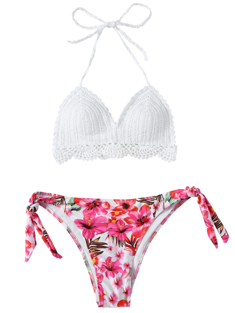 best Floral Crocheted Bikini Set - WHITE L Mobile