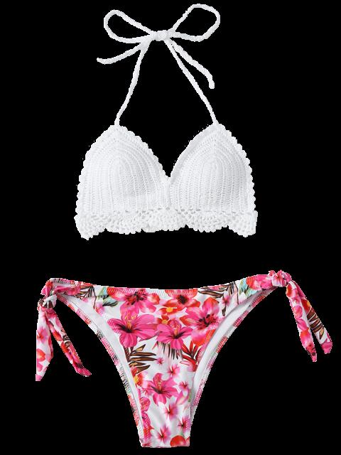 online Floral Crocheted Bikini Set - WHITE M Mobile