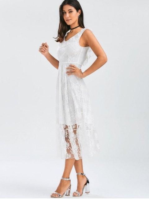 shop Open Back Lace Tulle Lace Up Dress - WHITE L Mobile