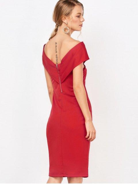 fashion Formal Off The Shoulder Sheath Dress - RED M Mobile