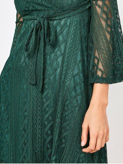 unique Empire Waist Surplice Lace Dress - DEEP GREEN L Mobile