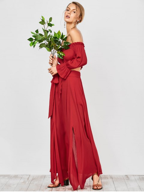 fancy Cropped Off The Shoulder Top and Belted Slit A-Line Skirt - RED L Mobile