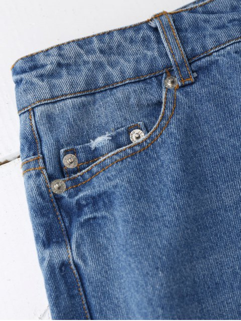 shops Distressed Graphic Boyfriend Jeans - DENIM BLUE S Mobile