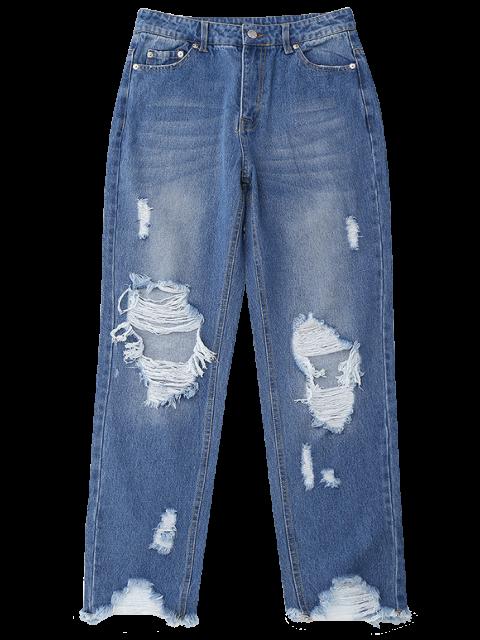 hot Distressed Raw Hem Jeans - DENIM BLUE S Mobile