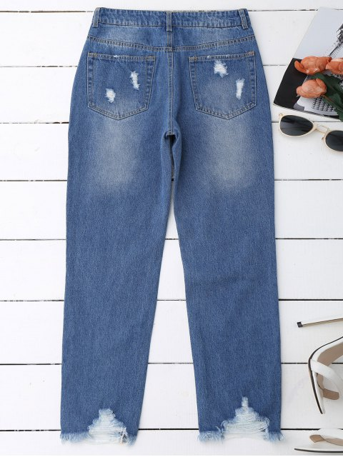 outfit Distressed Raw Hem Jeans - DENIM BLUE M Mobile