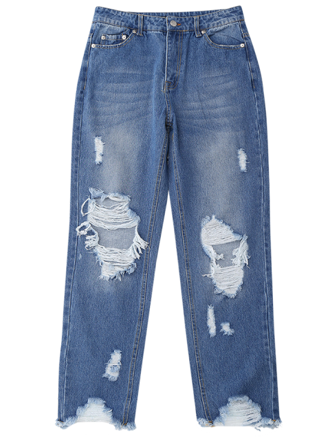 outfits Distressed Raw Hem Jeans - DENIM BLUE L Mobile