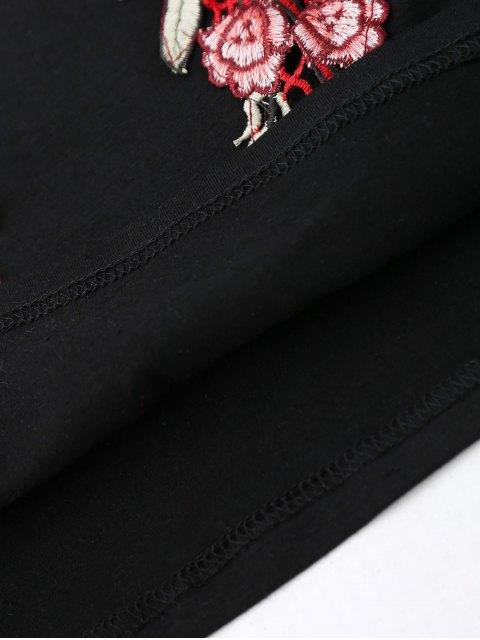 latest Embroidered Rose Halter Tank Top - BLACK S Mobile