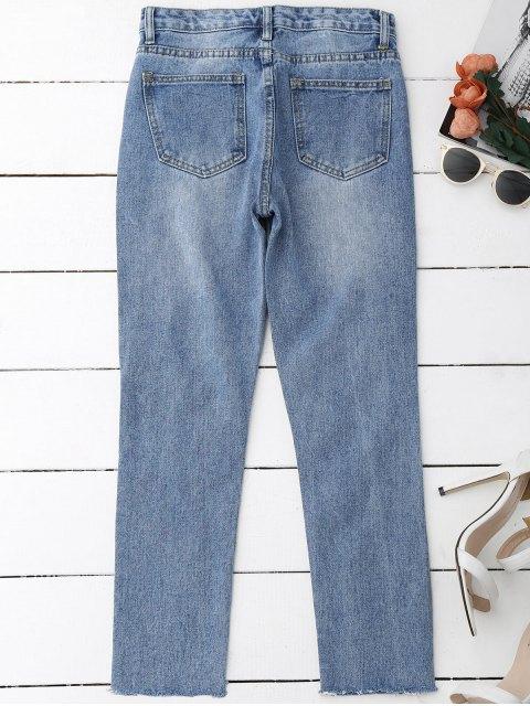 women's Distressed Frayed Jeans - DENIM BLUE M Mobile