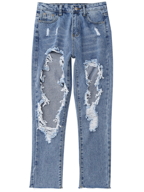 ladies Distressed Frayed Jeans - DENIM BLUE L Mobile