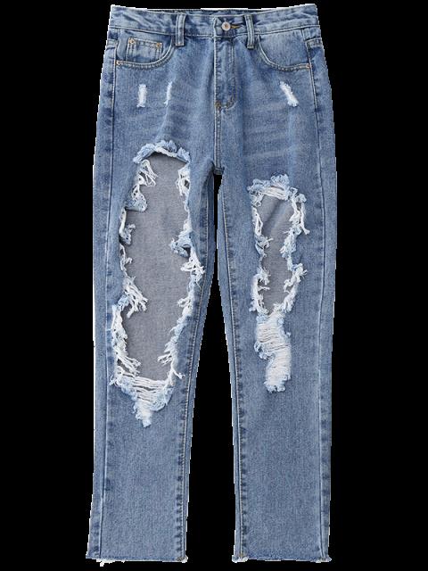 ladies Distressed Frayed Jeans - DENIM BLUE L Mobile