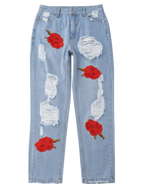 buy Flower Embroidered Ripped Jeans - DENIM BLUE L Mobile