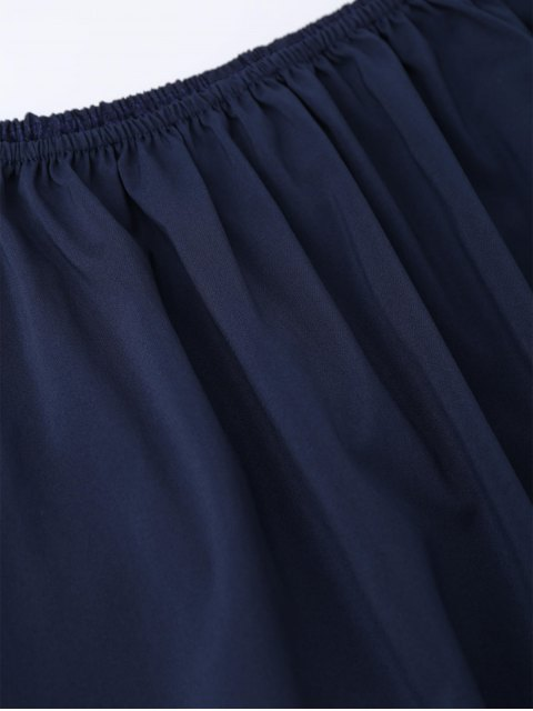 women Off The Shoulder Flared Dress - PURPLISH BLUE L Mobile
