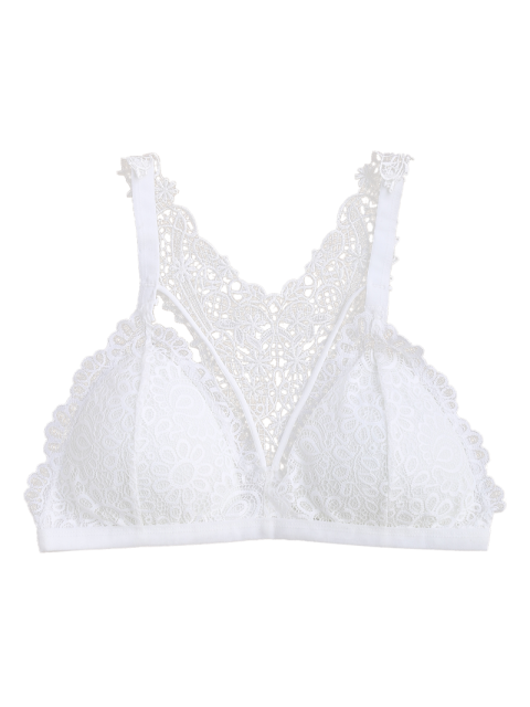 trendy Strappy Y Back Lace Padded Bra - WHITE ONE SIZE Mobile