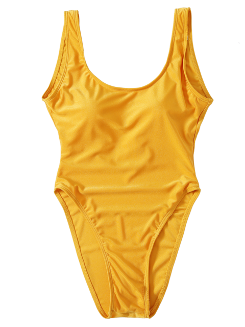 outfits High Cut Backless Swimsuit - YELLOW M Mobile