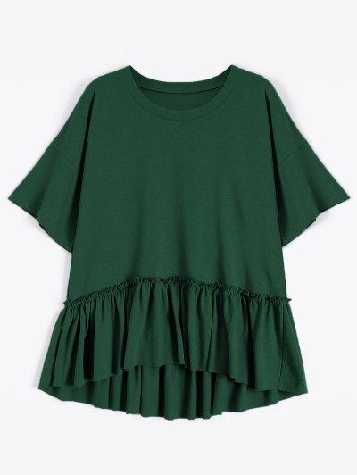 Short Sleeve Ruffle Hem T-Shirt - Blackish Green