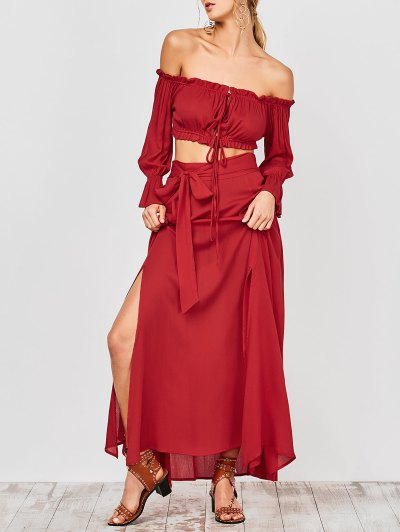 Cropped Off The Shoulder Top And Belted Slit A-Line Skirt - Red