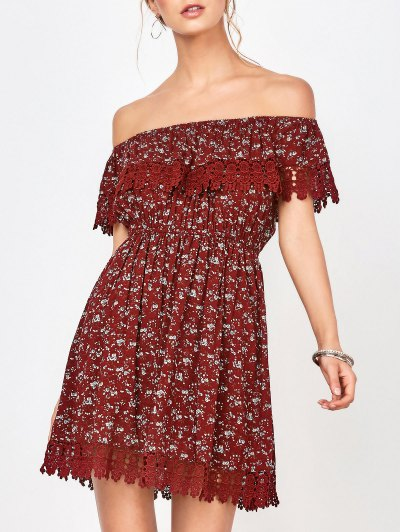Lace Trim Off The Shoulder Dress - Wine Red