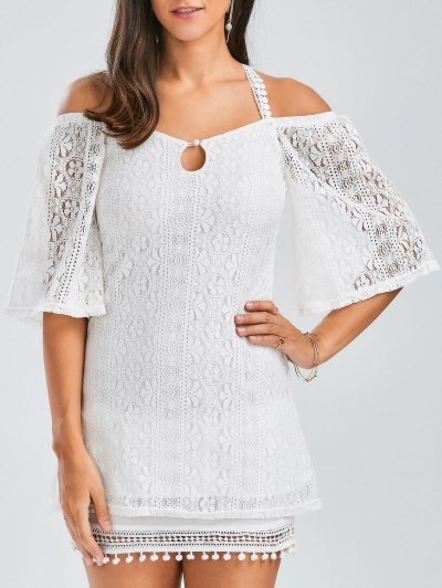 Backless Criss Cross Lace Tunic Top - White