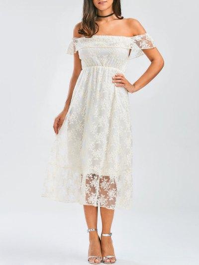 Off Shoulder Ruffle Lace Wedding Dress - White