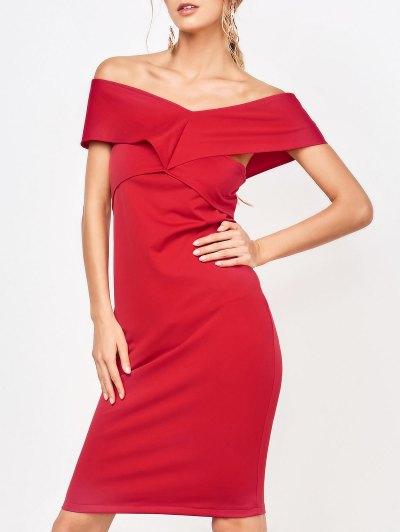 Formal Off The Shoulder Sheath Dress - Red M