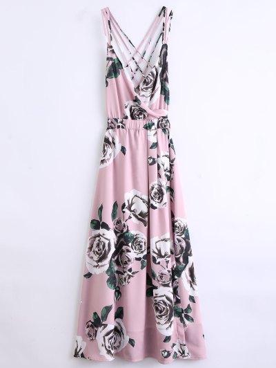 Vestido De Playa Floral Strappy - Rosa S