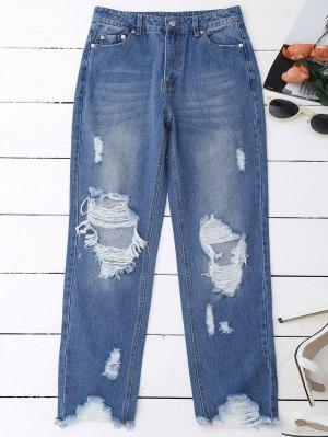 Distressed Raw Hem Jeans - Denim Blue