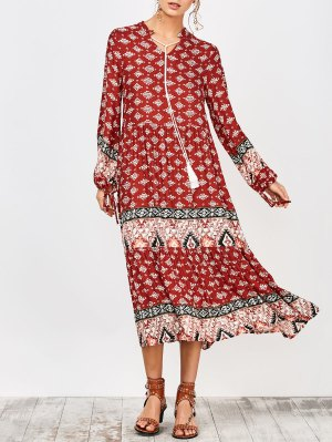 String Tribal Print Midi Dress - Red