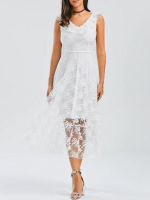 Open Back Lace Tulle Lace Up Dress - White