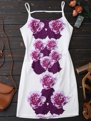 Flower Print Spaghetti Straps Backless Dress - White