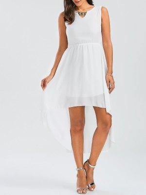 Beaded High Low Sleeveless Chiffon Dress - White