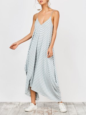 Asymmetrical Striped Casual Dress - Stripe