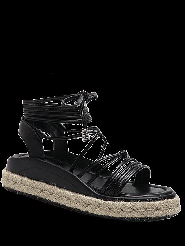 Tie Up Espadrilles Faux Leather Sandals 211957701