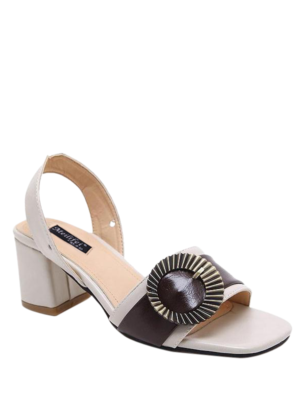 Block Heel Slingback Buckle Strap Sandals, Off-white
