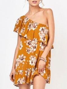One Shoulder Floral Mini Dress