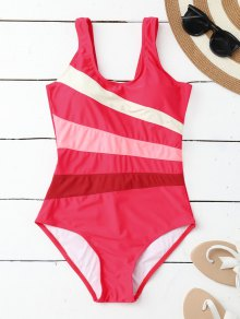 Stripes Slimming One Piece Swimsuit - Rose L