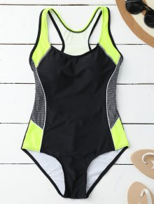 Contrasting Tummy Control One Piece Swimsuit - Black L