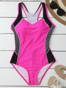 Contrasting Tummy Control One Piece Swimsuit - Rose L