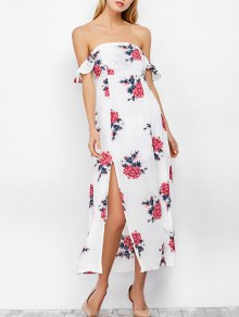 Maxi Con El Vestido De La Impresión Floral Del Hombro - Blanco
