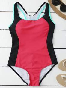 Racerback Sporty Slimming One Piece Swimsuit - Rose Red Xl