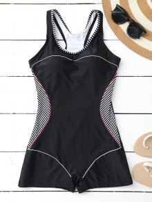Racerback Boyleg One Piece Swimwear - Black M